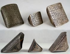 Africa | Marabout rings; silver | Tuareg people of Mali and Niger