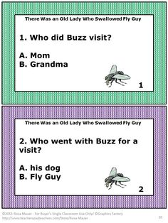 There Was an Old Lady Who Swallowed Fly Guy by  Tedd Arnold is the focus of this packet. You will receive 24 vocabulary word cards, 18 reading comprehension cards, and a vocabulary builder worksheet. Answers are given for the teacher. A response form is included for students.