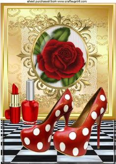 RED ROSE RED POLKA DOT SHOES AND LIPPY A4 on Craftsuprint - Add To Basket!