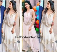 Jhanvi kapoor in Anamika Khanna Indian Fashion Trends, India Fashion, Half Saree Lehenga, Anarkali, Indian Attire, Indian Wear, Indian Dresses, Indian Outfits, Casual Dresses