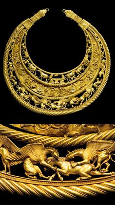 A golden pectoral from the royal grave at Tolstaja Mogila kurgan, Ukraine, 400 BC. Depicting Scythian life and mythologies.
