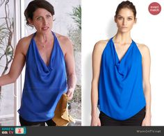 Abby's blue cowl neck top on Thanksgiving on Girlfriends Guide to Divorce.  Outfit Details: http://wornontv.net/45596/ #GG2D