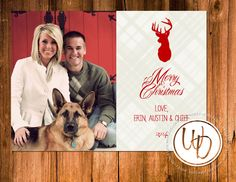 Rustic western antlers and plaid Christmas card with deer by Wentroth Designs. Visit us on Facebook to request a price quote on your holiday cards!