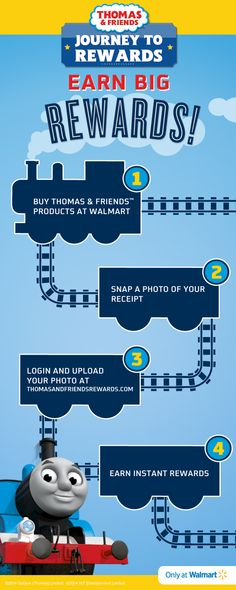Shop Thomas & Friends @Walmart and earn big rewards for your purchases with #JourneyToRewards! Visit: http://bit.ly/1geWxGx