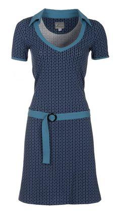 Zendee blauwe retro dames jurk