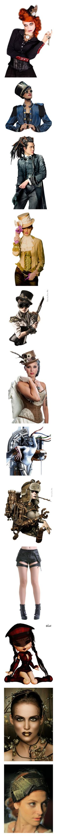 """Steampunk_People and Doll Parts_closed (almost)"" by auntiehelen ❤ liked on Polyvore featuring steampunk, doll parts, dolls, femme, men, people, filler, models, person and doll part"