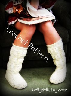 Crochet pattern- hollydoll cozy boots- the original and best-US womens sizes 5,6,7,8,9,10. $8.00, via Etsy.