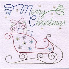 PinBroidery Stitching Cards Sleigh Square