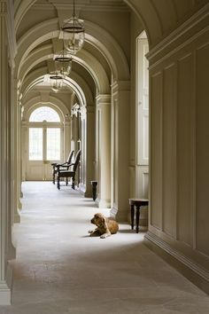 Beautiful arched/pannelled corridor with lanterns