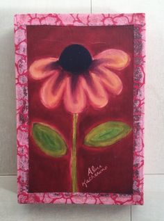 Cranberry Apple Daisy Art on Wood 4x6