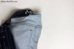 How to Take in your Jeans Waist - Step by Step Tutorial Make Skinny Jeans, Altering Jeans, Sewing Jeans, Sewing Alterations, Sewing Hacks, Sewing Tips, Sewing Projects, Learn To Sew, Sewing Techniques