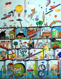 Bildname: Dreamland / Orginal / Material: Wasserfarben+Ölfarben auf Leinwand / Bildgröße: b 70 cm x h 90cm / Beschreibung: Naivität mit Kunst gepaart / Reinhard Schäffler