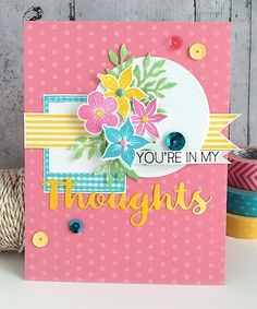 ~ in my thoughts ~ - Die cut and stamped card