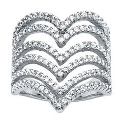 Micro-Pave White Cubic Zirconia .925 Sterling Silver Multi-Row Chevron Cocktail Ring (1.26 cttw)