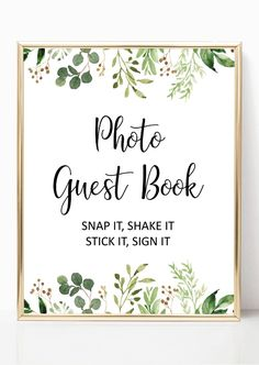 Greenery photo guest book sign printable, garden wedding polaroid guest book sign, wedding sign ideas, diy wedding ideas from Pink Summer Designs on Etsy