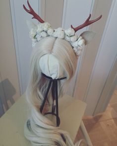Diy fawn/deer headband for SD size BJD #diy #fawn #deer #antlers #bjd #bjdaccessories #dollaccessories #dolls #flowercrown #flowerheadband