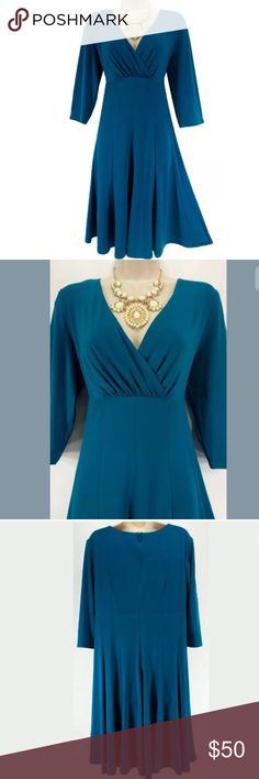 "16 XL 1X LITTLE TEAL DRESS Fall Winter Plus Size This sexy, gorgeous, teal dress is perfect for a day or evening occasion!   Size: 16 Back zip Surplice neckline Gorgeous teal color Flattering empire waist style with vertical seams down the skirt Stretchy, comfortable fabric Measurements: Bust (armpit to armpit): 44"" relaxed - stretches to 50"" Waist: 37"" relaxed - stretches to 42"" Hips: 50"" relaxed Length: 38.5"" (top of shoulder to bottom hem)  Condition: PRISTINE CONDITION! Fabric Content…"