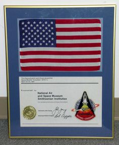 NASA presented this flag, mission patch and certificate as mementos of the first Space Shuttle Mission, STS-1, in 1981.