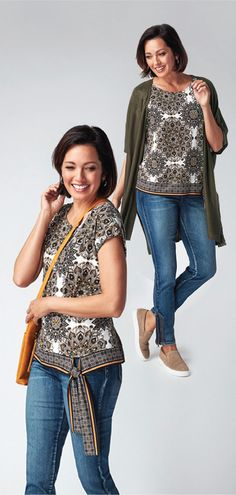 Lightweight and soft to the touch, this top is a great way to add some pattern and colour to your look! With a trendy side tie detail, you'll always look your best Wardrobe Ideas, Must Haves, Neutral, Printed, Jeans, Pattern, Summer, Color, Model