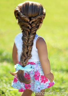 How cute is this AG Doll Hairstyle.Topsy Turvy Faux Fishtail Braid For American Girl Dolls! (Click through for tutorial)