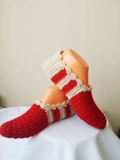 Autumn Red Beige Healthy Booties Home slippers Dance by NesrinArt