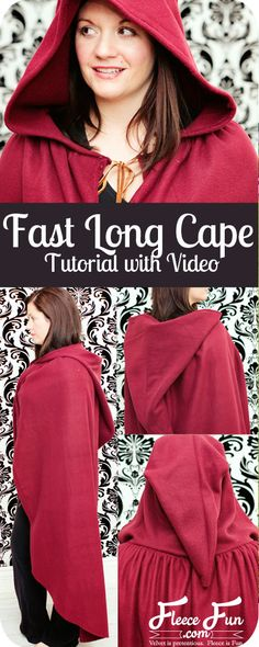 Fast hooded cape free pattern and tutorial I love how simple this free fast hooded cape pattern is - plus there's a video tutorial that shows you how to make it! Love this costume diy idea. Perfect fleece sewing project and costume idea DIY. Sewing Patterns Free, Free Sewing, Free Pattern, Cape Sewing Pattern, Diy Clothing, Sewing Clothes, Sewing Hacks, Sewing Tutorials, Sewing Tips
