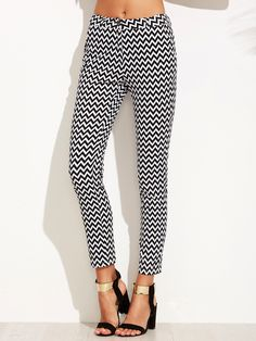 Shop Black And White Chevron Print Skinny Ankle Pants online. SheIn offers Black And White Chevron Print Skinny Ankle Pants & more to fit your fashionable needs.