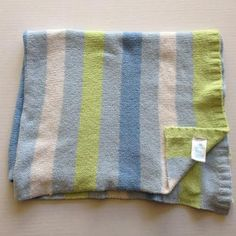Carters Blue Green White Stripe Chenille Baby Blanket Security Lovey Stripes #Carters