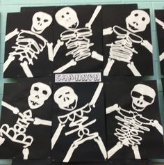 skeleton craft project made with spelling out kids name for the
