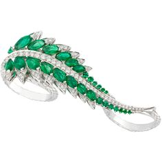Stephen Webster, Magnipheasant Collection Plumage Three Finger Ring of Diamonds and Emeralds in 18k White Gold (=)