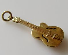 Vintage Gold Guitar Charm Dated 1959. by TrueVintageCharms on Etsy