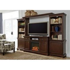 Ashley Furniture Porter Brown Entertainment Center With Fireplace
