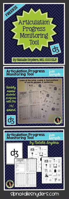 FREE Articulation progress monitoring tool for the /dg/ sound - a stand alone companion to Natalie Snyders' bestselling tools for SLPs