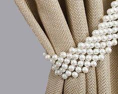 Curtain tie back Pearl white Belt rhinestones tiebacks Pearl Curtain Tie Backs Diy, Curtain Ties, Ivory Curtains, Cotton Curtains, White Belt, Pearl White, Rideaux Shabby Chic, Passementerie, Shabby Chic Style