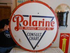 "Vintage Sign Polarine Motor Oil Porcelain  Original ca.1940/50's 42"" #PolarineOil"