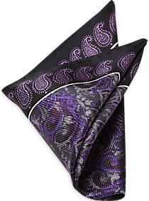 Joseph Abboud Black & Purple Paisley Pocket Square