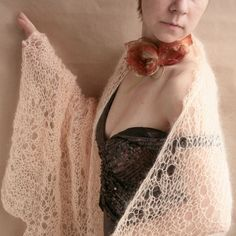 Peach hand knitted SHAWLSCARFWRAPand more by tijusai on Etsy, $45.00