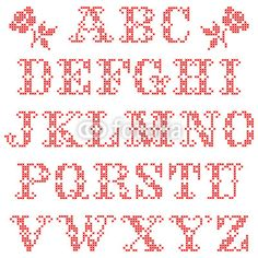 Set Of Alphabetic Characters Cross Stitch Red
