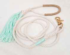 Mint  Gold Nautical Rope Dog Leash  Gifts by theAtlanticOcean, $50.00