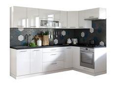 Kuchyně Emilia pravý roh 243x143 cm (bílá vysoký lesk/černá) | Jena nábytek Kitchen Cabinets, Design, Home Decor, Decoration Home, Room Decor, Cabinets, Home Interior Design, Dressers