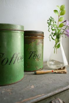 antique coffee and tea cans by ohalbatross on Etsy