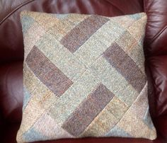 Tweed Patchwork Cushion Cover by PoppyMallow on Etsy