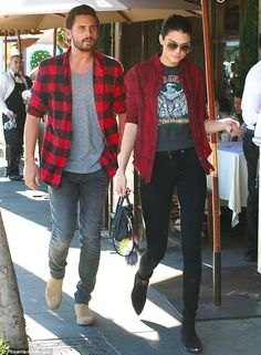 Kendall Jenner (19) with her sister's fiancé, Scott Disick (31) - At II Pastaio in Beverly Hills. (November 2014)
