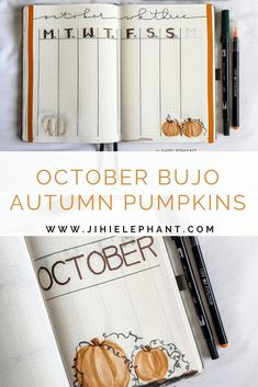 To celebrate this pumpkin season and autumn as a whole, I chose to create an pumpkin themed October bullet journal layout. Bullet Journal Font, Bullet Journal Themes, Bullet Journal Inspiration, Bullet Journals, Carving Pumpkins, Fall Pumpkins, Hot Apple Cider, Planner Layout, Erin Condren Life Planner