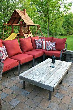 Terrassen Tische, Tische Im Freien, Rustikales Outdoor, Esstisch, Ottomanen  Tisch, Polsterhocker Selbstgemacht