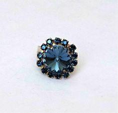 Swarovski crystal 14mm rivoli fancy stone ring montana blue,adjustable