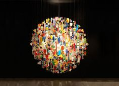 Chandelier from trash...I would die for something like this in my house!