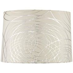 White with Silver Circles Drum Shade 15x16x11 (Spider)