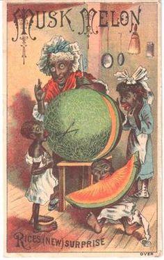 ANTIQUE BLACK AMERICANA TRADE CARD RICE'S SEEDS LADY CHILDREN MUSK MELON