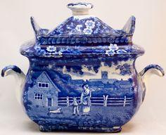 Early 19th century dark blue Staffordshire transfer printed sugar 'box'.